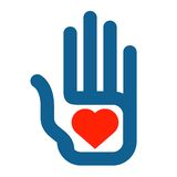 Hand and heart on a white background. color icon vector illustration