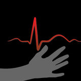Hand and heartbeat Royalty Free Stock Images
