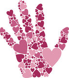 Hand of Hearts. Vector Illustration of Hand of Hearts symbol for love affection Stock Photos