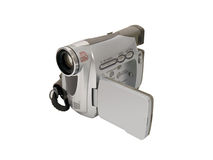 Hand held camcorder. A hand held camcorder isolated on white Royalty Free Stock Photography