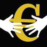 Hand held euro vector illustration Royalty Free Stock Image