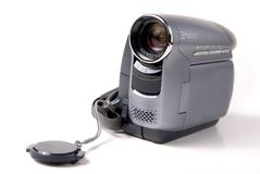 Hand held mini DV video camera. On white background Royalty Free Stock Image