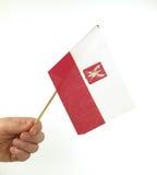 Hand Held Polish Flag. Hand holding Polidh flag over white stock images