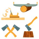 Hand-held quipment for forest destruction isolated illustrations set Royalty Free Stock Photography