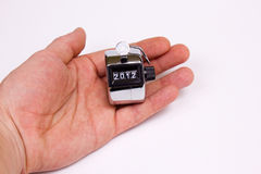 Hand held tally counter. Hand clicker counter at 2012 Royalty Free Stock Image