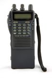 Hand-held walkie-talkie. A small handheld radio transmitter receiver or walkie talkie stock photo