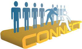 Hand help up connect to join people group. Member gives helping hand up to a new person to join a company or social group vector illustration