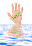 Hand help in water Stock Images