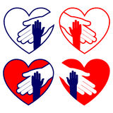 Hand helping in heart set vector illustration Royalty Free Stock Image