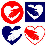 Hand helping in heart set vector illustration Royalty Free Stock Photography
