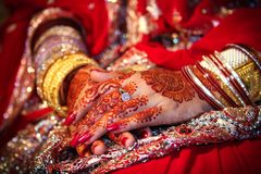 Hand with henna. Hand of Bangladeshi bride tinted with henna tattos Stock Images