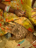 Hand with henna painting, India Stock Photography