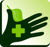 hand herbal doctor logo Royalty Free Stock Photography