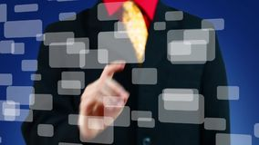 Hand het drukken één van vele virtuele knopen, blauwe achtergrond stock videobeelden