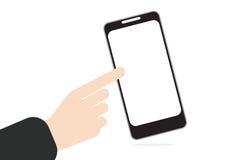 Hand het duwen of pers op het aanrakingsscherm bij het mobiele telefoon in hand duwen of pers op het aanrakingsscherm Royalty-vrije Stock Afbeelding
