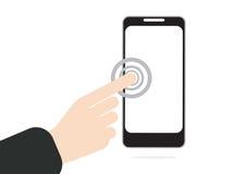 Hand het duwen of pers op het aanrakingsscherm bij mobiele telefoon binnen Royalty-vrije Stock Fotografie