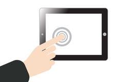 Hand het duwen of pers op het aanrakingsscherm bij tablet mobiele telefoon binnen Royalty-vrije Stock Afbeeldingen