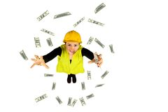 Hand het geld vliegende dollar van arbeiderslonen op witte achtergrond Stock Fotografie
