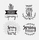 Hand het getrokken de lente van letters voorzien Pasen-Vakantie die voor uitnodiging, verkoop, groetkaart, drukken en affiches va royalty-vrije illustratie