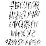 Hand het getrokken droge borstel van letters voorzien Het alfabet van de Grungestijl Met de hand geschreven doopvont Vector illus Stock Fotografie