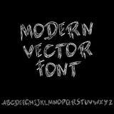 Hand het getrokken droge borstel van letters voorzien Het alfabet van de Grungestijl Met de hand geschreven doopvont Vector illus Royalty-vrije Stock Afbeeldingen