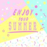 Hand het getrokken geniet van letters voorzien van uw zomer met heldere achtergrond Abstracte ontwerpkaart voor drukken, vliegers Royalty-vrije Stock Fotografie