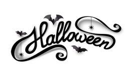 Hand het getrokken Halloween-van letters voorzien met document knuppels en spinnen Kalligrafie en borstelpen het van letters voor vector illustratie