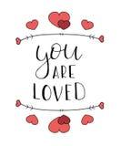Hand het getrokken liefde van letters voorzien Stock Fotografie
