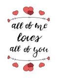 Hand het getrokken liefde van letters voorzien Stock Afbeelding