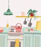 Hand het getrokken naar huis koken in beeldverhaalstijl Het kleurrijke binnenland van de krabbelkeuken met keukengerei, ketel, ov Stock Afbeeldingen