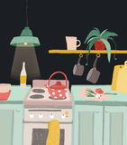 Hand het getrokken naar huis koken in beeldverhaalstijl Het kleurrijke binnenland van de krabbelkeuken met keukengerei, ketel, ov vector illustratie