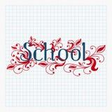Hand het getrokken schooltekst van letters voorzien met abstract bloemenontwerp Royalty-vrije Stock Afbeeldingen