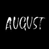 Hand het getrokken typografie van letters voorzien August Month-inschrijving Vector illustratie Stock Fotografie