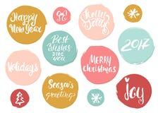 Hand het getrokken vakantie van letters voorzien in de cirkels van de grungestijl Stationaire Kerstmisinzameling van het unieke v Stock Fotografie