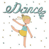Hand het getrokken van letters voorzien met woorddans met meisje het dansen Royalty-vrije Stock Foto's