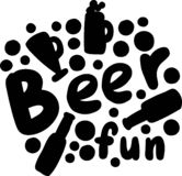 Hand het getrokken vector`-Bier ` van letters voorzien met decoratieve elementen stock afbeelding