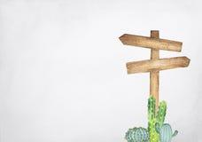 Hand het getrokken waterverf voorziet schilderen van houten met cactus op grijze achtergrond van wegwijzers stock illustratie