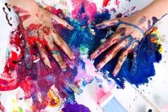 Hand het schilderen art. Royalty-vrije Stock Foto's