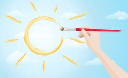 Hand het schilderen zon op de hemel Royalty-vrije Stock Afbeelding