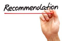 Hand het schrijven Aanbeveling, bedrijfsconcept Stock Foto's