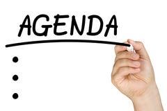 Hand het Schrijven Agenda Duidelijk Glas Whiteboard Stock Foto