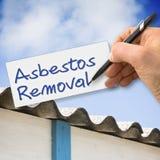 Hand het schrijven Asbestverwijdering met een potlood op een blad stock illustratie