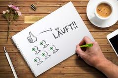 Hand het schrijven concept die team met Duits woord voor 'wordt uitgevoerd 'leiden royalty-vrije stock afbeeldingen