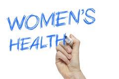 Hand het schrijven de gezondheid van vrouwen Stock Foto's