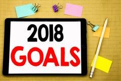 Hand het schrijven de inspiratie die van de teksttitel 2018 Doelstellingen tonen Bedrijfsconcept voor financiële planning, bedrij stock illustratie