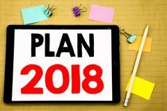 Hand het schrijven de inspiratie die van de teksttitel Plan 2018 tonen Bedrijfsdieconcept voor de Planning van StrategieActieplan vector illustratie
