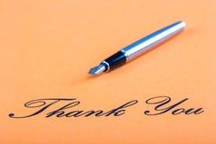 Hand het schrijven de vulpen dankt u Royalty-vrije Stock Foto