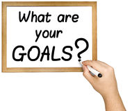Hand het Schrijven Doelstellingen Vraagteller Whiteboard Stock Afbeelding