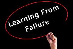Hand het Schrijven het Leren van Mislukking stock afbeeldingen