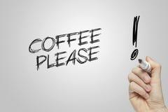 Hand het schrijven koffie tevreden Royalty-vrije Stock Fotografie